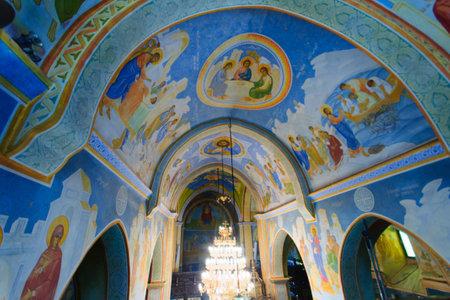 nazareth: NAZARETH, ISRAEL - APR 05, 2015: The decorated ceiling of the Greek Orthodox church of Annunciation, in Nazareth, Israel Editorial