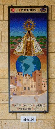 annunciation of mary: NAZARETH, ISRAEL - APR 05, 2015: A Mosaic donated by the people of Spain, part of a display of donations of many nations, in the Church of Annunciation, in Nazareth, Israel Editorial