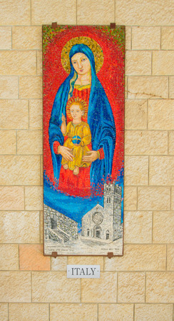 annunciation of mary: NAZARETH, ISRAEL - APR 05, 2015: A Mosaic donated by the people of Italy, part of a display of donations of many nations, in the Church of Annunciation, in Nazareth, Israel Editorial