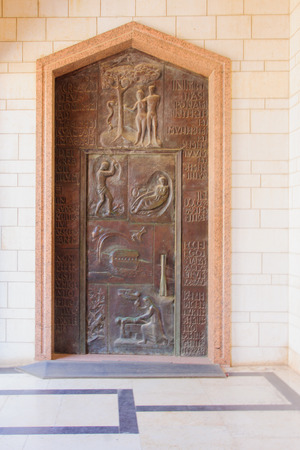 annunciation: A decorated wooden door in the main entrance of the Church of Annunciation, in Nazareth, Israel