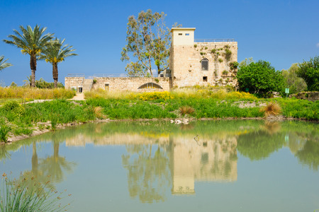 flour mill: A restored Crusader-era flour mill building, and a water pond, in En Afek Nature Reserve, northern Israel