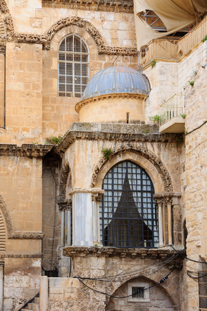 sepulcher: The Holy Sepulcher Church facade, in the old city of Jerusalem, Israel Stock Photo
