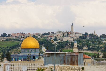 dome of the rock: The Dome of the Rock rises above the rooftops of the old city of Jerusalem, Israel