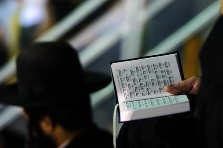 holiday prayer book: Un Judio ortodoxo leer un libro de oraciones en el Hillulah anual de Rab� Shim�n Bar Iojai en Mer�n en Lag Baomer vacaciones.