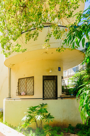 world cultural heritage: TEL AVIV ISRAEL  MAY 15 2015: A Bauhaus style house in Tel Aviv Israel. The white city of Tel Aviv is a UNESCO a World Cultural Heritage site