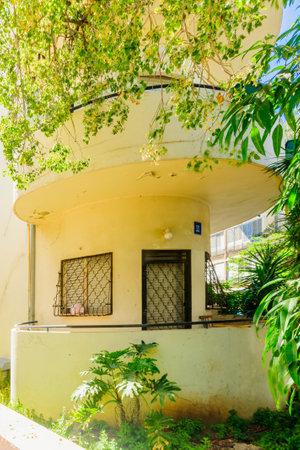 unesco world cultural heritage: TEL AVIV ISRAEL  MAY 15 2015: A Bauhaus style house in Tel Aviv Israel. The white city of Tel Aviv is a UNESCO a World Cultural Heritage site