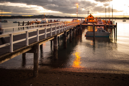 Sunset in the pier of Russell Bay of Islands Northland North Island New Zealand 版權商用圖片