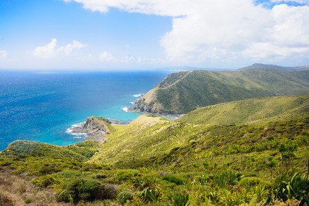 north island: Cape Reinga the meeting point of the Tasman Sea and the Pacific Ocean in the Northland North Island of New Zealand Stock Photo