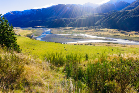 south island new zealand: Landscape in Lewis Pass South Island New Zealand Stock Photo