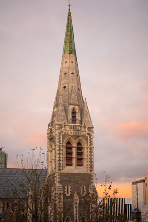 the south island: The cathedral of Christchurch at sunrise in Christchurch South Island New Zealand. Photo taken before 2011 earthquake Stock Photo