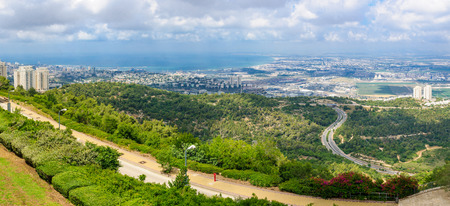 Panoramic view of the bay of Haifa with downtown Haifa the harbor the industrial zone and the slope of Mount Carmel. Viewed from Haifa University. Haifa Northern Israel photo