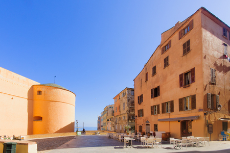 donjon: The Governors Palace and place du Donjon square in the citadel Bastia Corsica France Editorial
