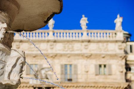 veneto: The fountain in Piazza Delle Erbe, Verona, Veneto, Italy