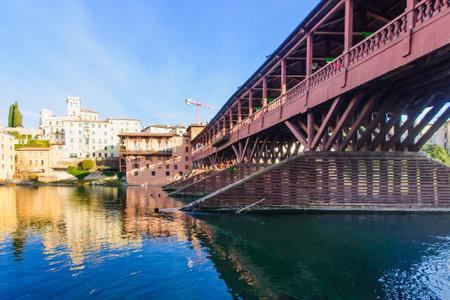 The Ponte Vecchio or Ponte degli Alpini bridge, and the Brenta river, in Bassano del Grappa, Veneto, Italy Editorial