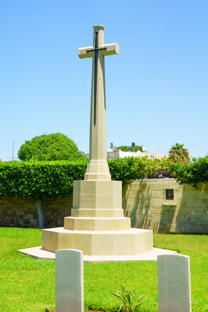 mandate: HAIFA, ISRAEL - JULY 21, 2015: A monument for British soldiers who died during the British mandate 1918-1948, in downtown Haifa, Israel