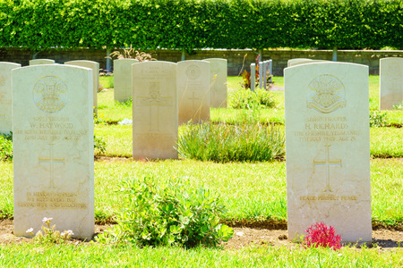 haifa: HAIFA, ISRAEL - JULY 21, 2015: Graveyard for British soldiers who died during the British mandate 1918-1948, in downtown Haifa, Israel