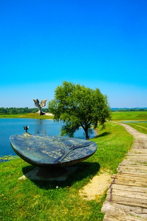 concentration camp: JASENOVAC, CROATIA - JULY 07, 2015: The memorial monument to the victims of Ustasha during World War II in Jasenovac, Croatia Editorial