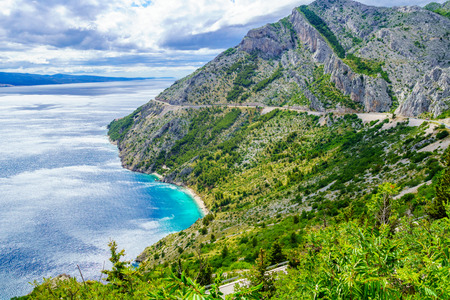 View of the Adriatic Sea coast and Omis and Makarska Riviera, in Dalmatia, Croatia
