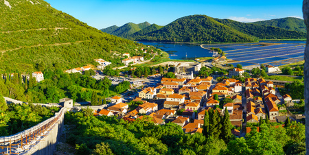 Panoramic view of the village of Ston, the walls and the salt pools, in Dalmatia, Croatia Reklamní fotografie