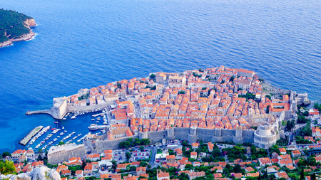 srd: A view on the old city of Dubrovnik and Lokrum Island from above, in Dalmatia, Croatia Stock Photo