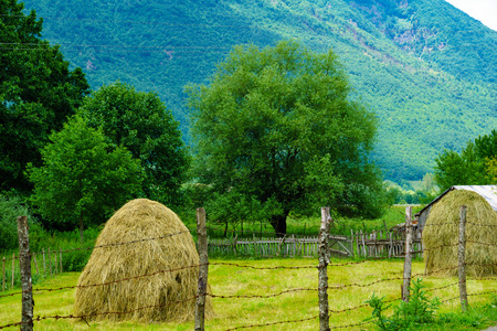 haystacks: Countryside and haystacks in Plav area, southern Montenegro Stock Photo