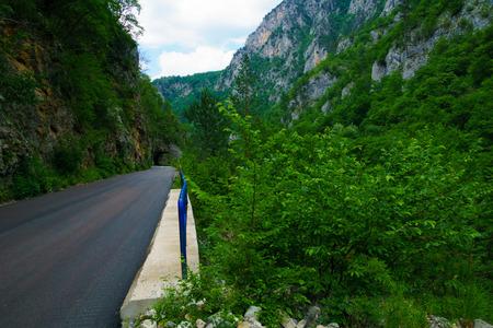 hill of tara: A road and a tunnel along the Tara Canyon, northern Montenegro