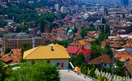 old center: Rooftop view of the old center of Sarajevo, with minarets and other buildings. Bosnia and Herzegovina