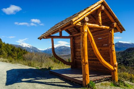 mountainscape: A bus station on the road, in Patagonia, near Bariloche, Argentina