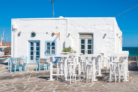 typical: Typical restaurants and cafe, in Naousa, Paros Island, Greece