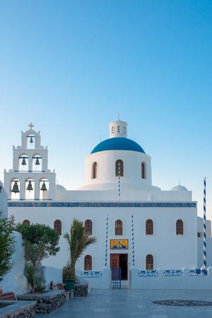 thira: A typical Greek island church, in Oia, Santorini Thira Island, Greece