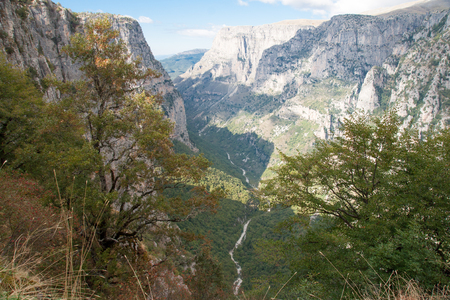 terrain: View of the Vikos gorge in Zagoria, Greece