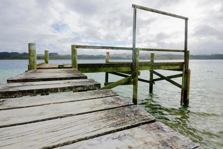 aotearoa: Pier in Kai Iwi lakes, Northland, New Zealand