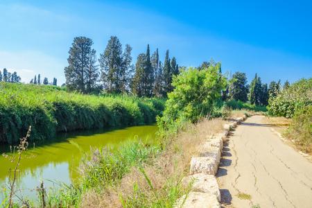 View of Nahal Alexander Alexander stream nature reserve. Israel
