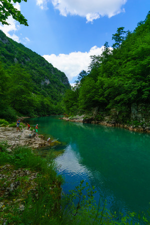 hill of tara: BUDECEVICA, MONTENEGRO - JULY 02, 2015:  The Tara River and Canyon, with tourists, in northern Montenegro