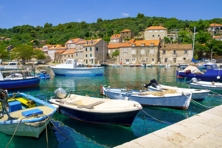 tranquilly: View of the fishing port, in the village Sudurad, Sipan Island, one of the Elaphiti Islands, Croatia