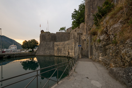 dated: The South Gate Gurdic Gate, dated 13 century, and the old town walls, in Kotor, Montenegro