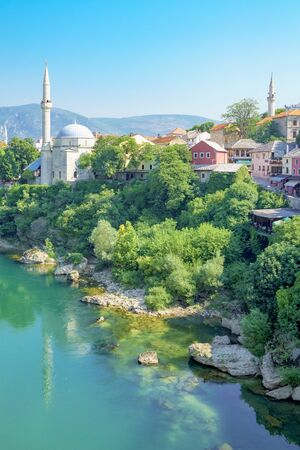 neretva: Mosques and minarets in the old city of Mostar, Bosnia and Herzegovina