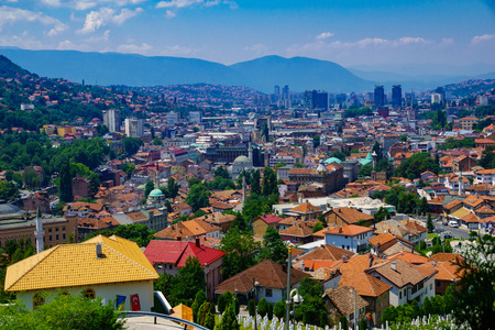 minarets: Rooftop view of the old center of Sarajevo, with minarets and other buildings. Bosnia and Herzegovina