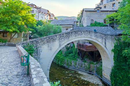 crooked: The Crooked Bridge in the old city of Mostar, Bosnia and Herzegovina