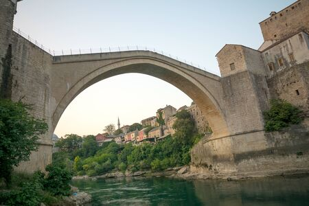 restored: The old city and the restored Old Bridge Stari Most, in Mostar, Bosnia and Herzegovina