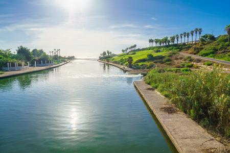nahal: View of Hadera River Nahal Hadera Park and the Mediterranean Sea, Northern Israel