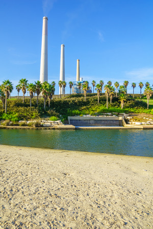 nahal: View of Hadera River Nahal Hadera Park, the Power Station, and cooling water discharge. Northern Israel