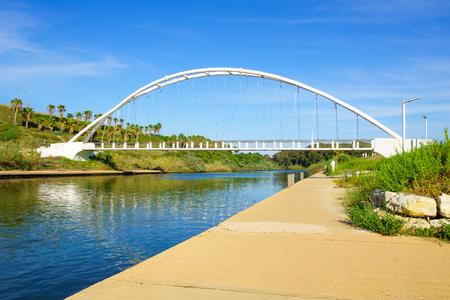 nahal: View of Hadera River Nahal Hadera Park and the Harp Nevel Bridge, Northern Israel