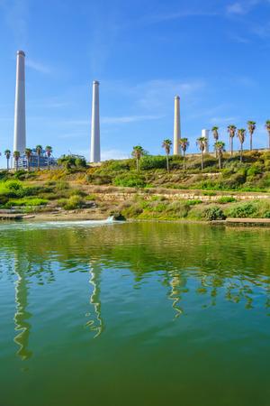 nahal: View of Hadera River Nahal Hadera Park and the Power Station, Northern Israel