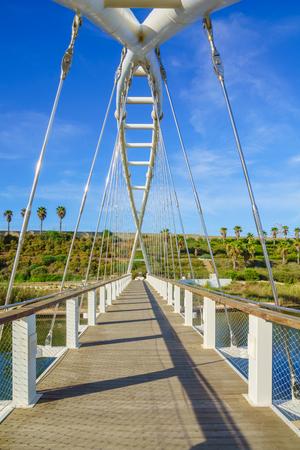 nahal: The Harp Nevel Bridge in Hadera River Nahal Hadera Park, Northern Israel Stock Photo