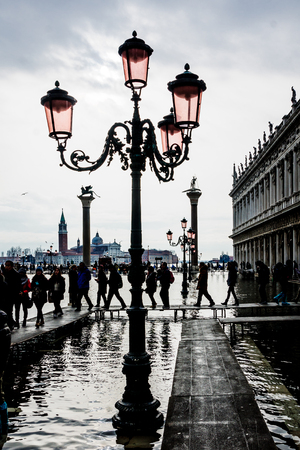 veneto: The flooded Piazza San Marco, in Venice, Veneto, Italy