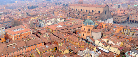 View of the historical center of Bologna, with the Basilica of San Petronio, in Bologna, Emilia-Romagna, Italy