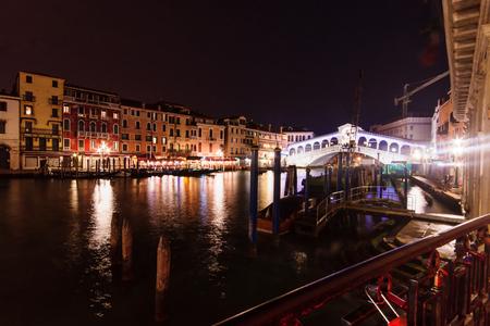 rialto: The Rialto Bridge at night. Venice, Veneto, Italy