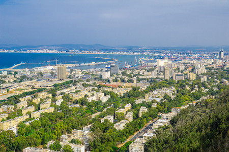 carmel: HAIFA, ISRAEL - OCTOBER 13, 2015: View of the slopes of Mount Carmel, downtown, the port and the bay, in Haifa, Israel