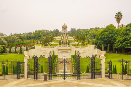 baha: The Bahai gardens and temple, on the slopes of the Carmel Mountain view from below, in Haifa, Israel